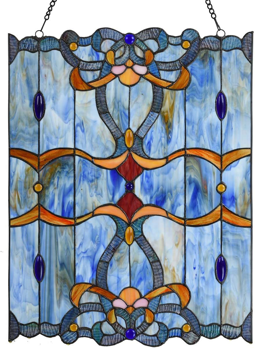 River of Goods Mission Style 17.5 Inch High Stained Glass Suncatcher Window Panel Brown, White, Blue