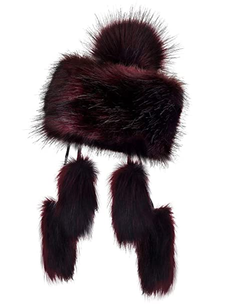 57360fecc24 Futrzane Mongolian Faux Fox Fur Winter Hat Women Russian Cossack Pompom  (Bordo)  Amazon.co.uk  Clothing