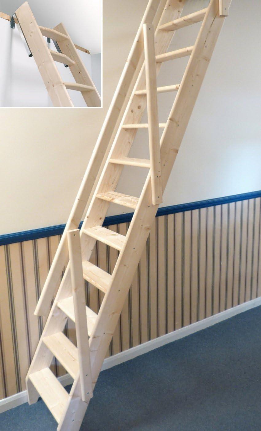 Escalera escamoteable Arundel, de Dolle. Hecha de madera. Ahorradora de espacio. Para desván. Sistema deslizable: Amazon.es: Bricolaje y herramientas