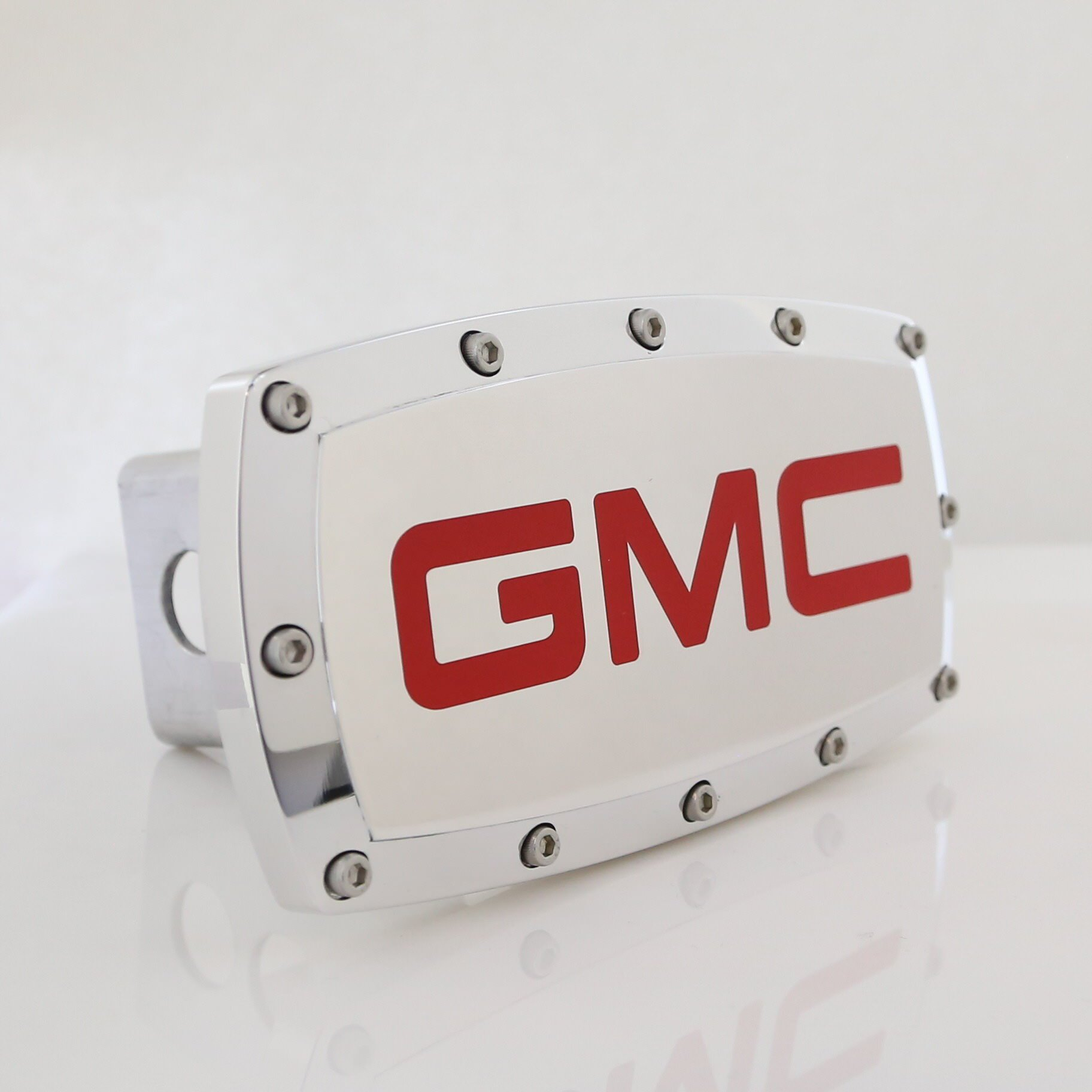 GMC Red Logo Chrome Billet w/Allen Bolts Tow Hitch Cover