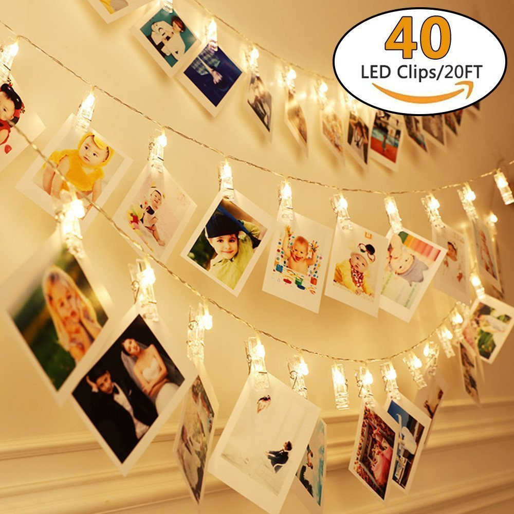 DGZC 40 LED Clips Photo Holder 20ft Indoor Fairy String Lights for Hanging Display Pictures Cards and Memos, Ideal Gift Photo Clip for Dorms Home Decoration
