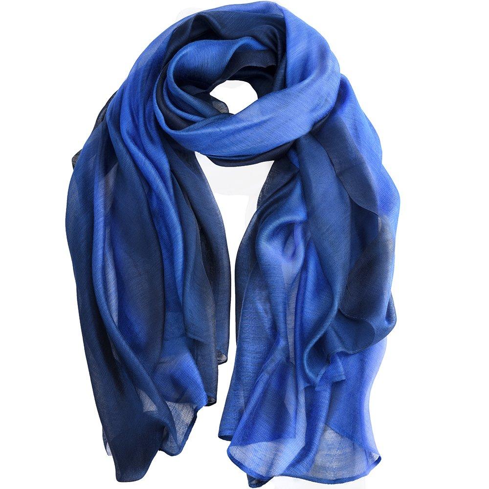 Asiv® Gran Gradiente Suave Elegante de la Luz Color de Abrigo de Mantón Bufanda Pura Pañuelos de Seda para Las Mujeres Azul