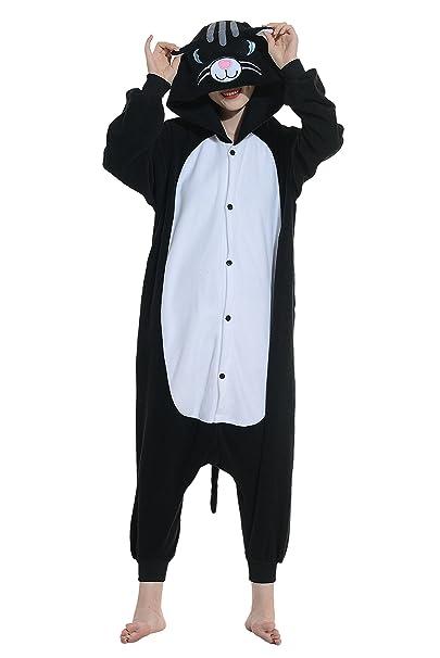 Gato Negro Halloween Disfraz Cosplay Animales Pijamas Mujer Invierno Navidad Traje Adulto