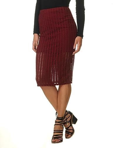 Kendall + Kylie Women's Women's Burgundy Laser Cut Skirt