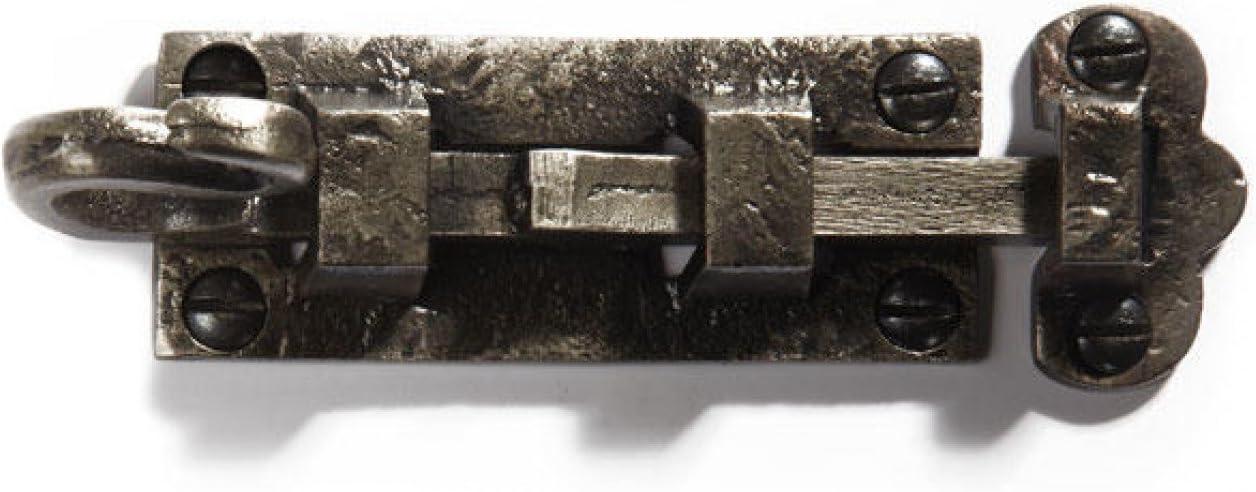 Antique Pewter Casa Hardware Cast Iron Detailed Slide Bolt Interior Exterior Door Latch