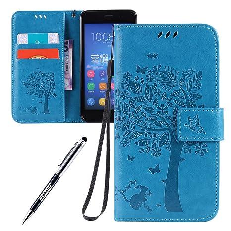 Carcasa Huawei Y6, Funda Huawei Y6, JAWSEU Huawei Honor 4A / Huawei Ascend Y6 LTE Tapa Trasera Carcasa Diseño Empalme Cuero Billetera PU Leather ...