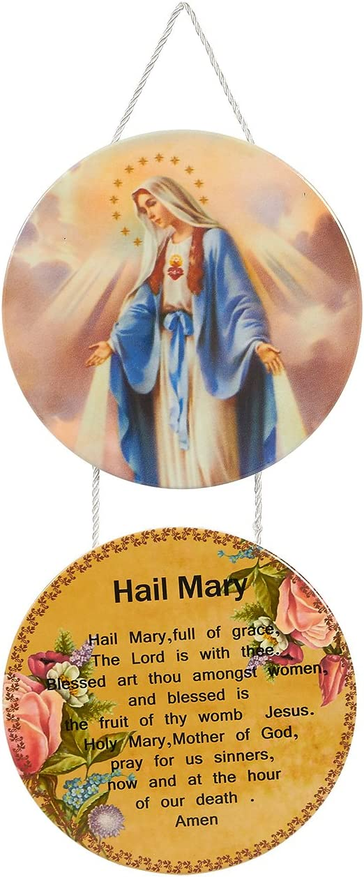 Religious Wall Decor, Hail Mary Icon and Prayer for Home, Office (12 x 5.9 x 0.2 In)
