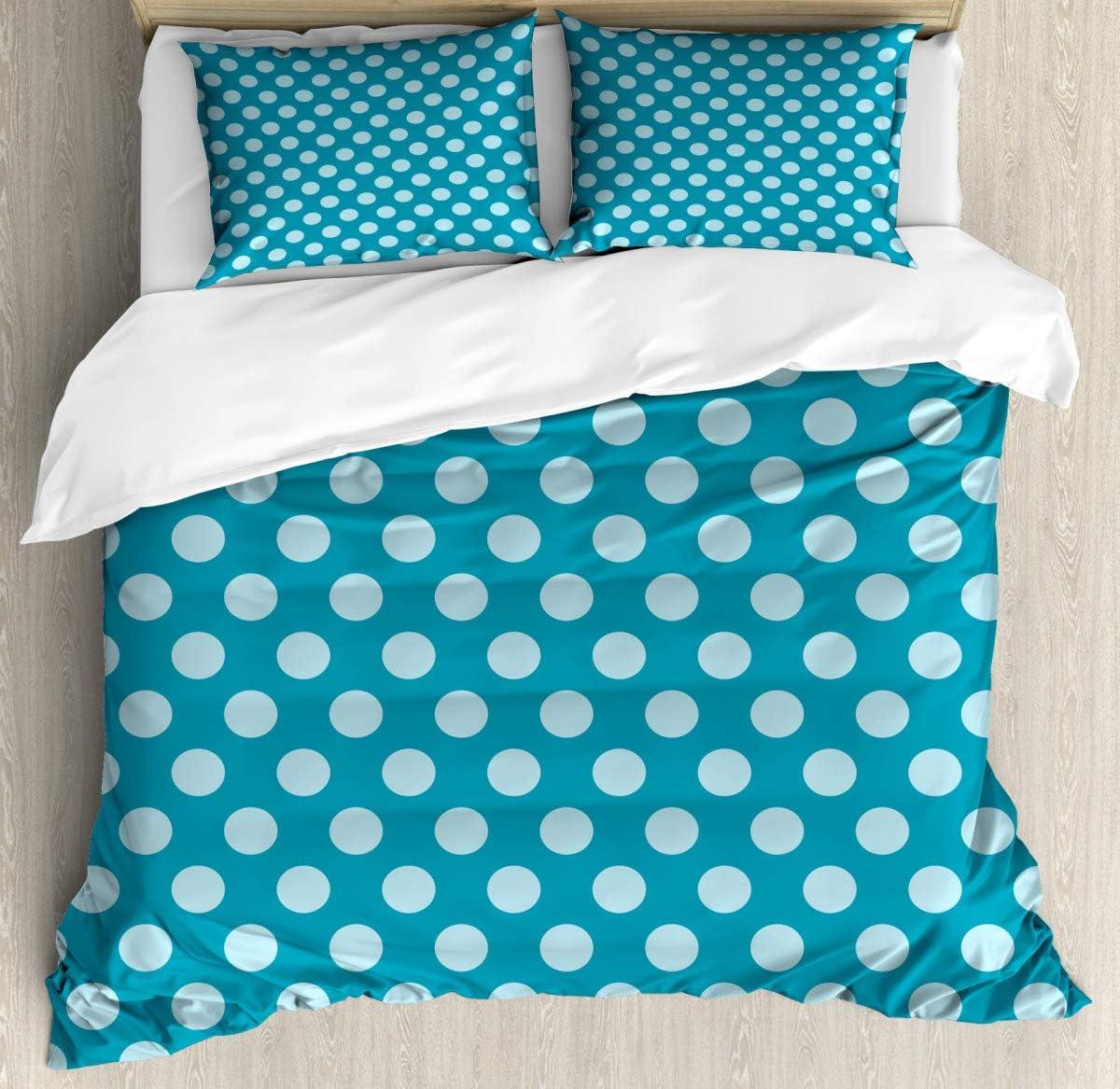 "Bedding Set Twin Duvet Cover SetPolka Dots Soft Sea Colors Duvet Cover SetMicrofiber Decoration Room home86 x94/19""x29""inch"