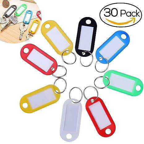 NUOLUX NUOLUX Etiquetas de plástico con llaves de colores surtidos Llaveros Identificador de equipaje Etiquetas con etiquetas - Paquete de 30 (color ...