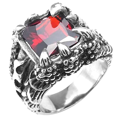 Men/'s Stainless Red Stone Claw Ring