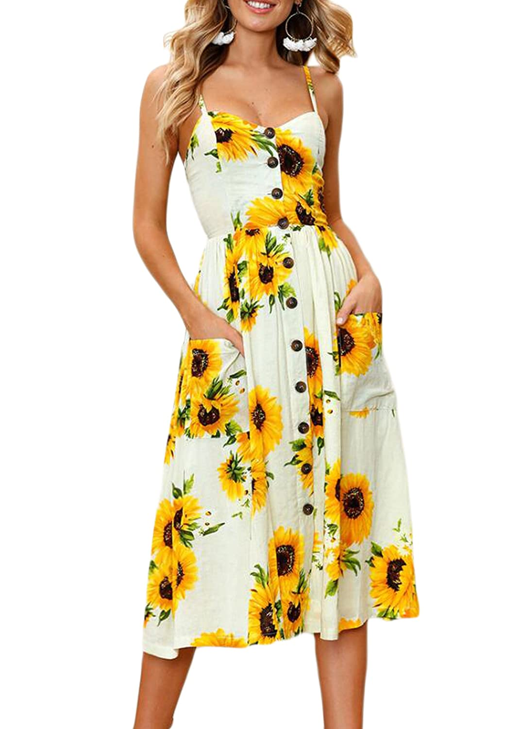 2d251673e4a0 Odosalii Women's Floral Spaghetti Strap Button Down Midi Dress Summer with  Pockets Yellow at Amazon Women's Clothing store: