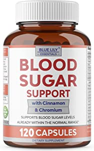 Blue Lily Blood Sugar Support Supplement. High Potency Natural Glucose Metabolism Support. 120 Capsules with Bitter Melon, Alpha Lipoic Acid, Chromium