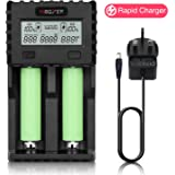 MiBOXER AA Battery Chargers 1.5A Large LCD Display Universal Smart 18650 Charger with UK Adapter for Ni-MH Ni-Cd AAA C D Li-ion IMR INR ICR 10340 26650 RCR123