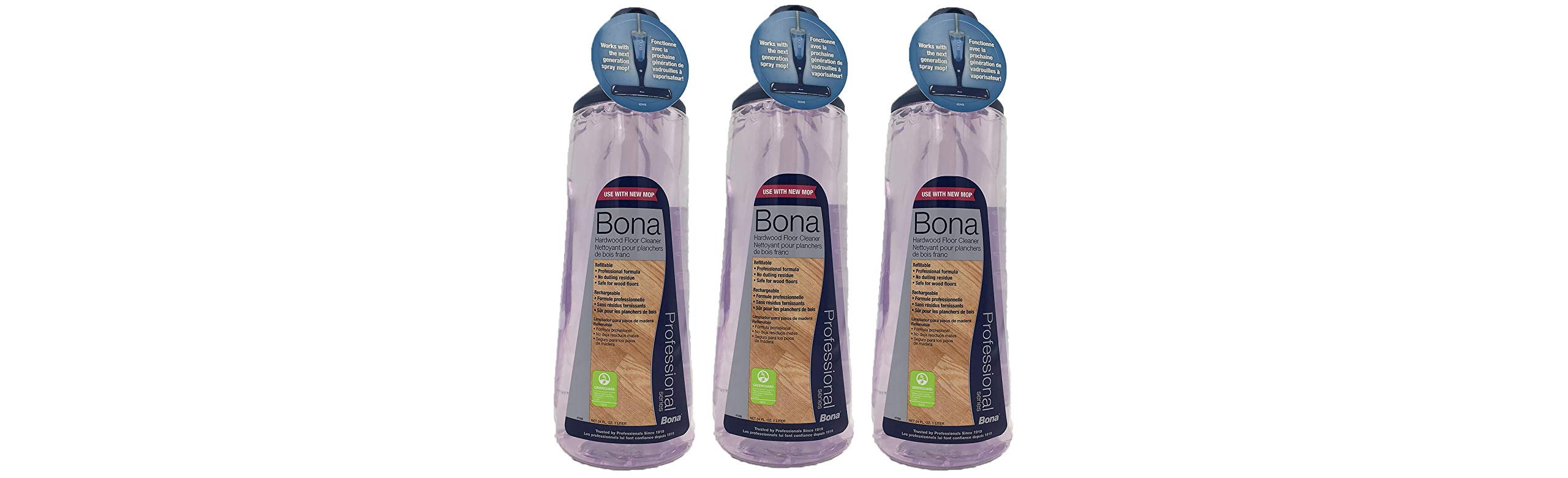Bona Pro 33 Oz Hardwood Floor Cleaner Refill Cartridge, Premium No-Residue Formula, Ready-to-Use Cartridge For Bona Hardwood Floor Spray Mop, Cleans Dirty, Smudged Wood Floors (Pack of 3)