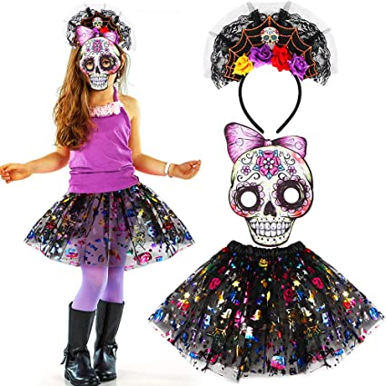 vamei halloween costumes for girls with tutu skirt fancy flower headband skull mask outfit sugar skull