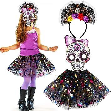d1fd070e59f Tacobear Kids Halloween Skull Costume with Sugar Skull Mask Headband Tutu  Skirt Mexican Sugar Skull Day