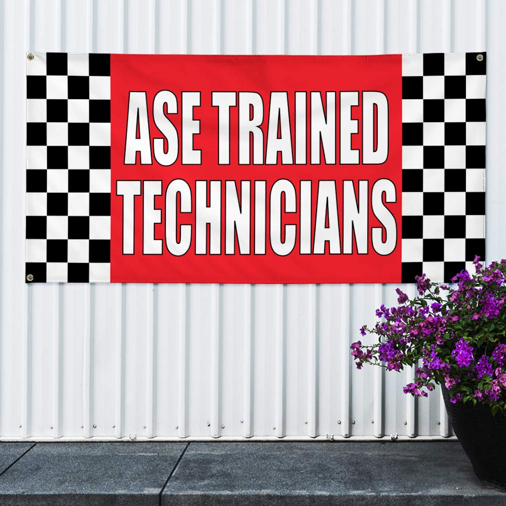 6 Grommets 32inx80in Vinyl Banner Sign Ase Trained Technicians #1 Automotive Marketing Advertising Red Set of 2 Multiple Sizes Available