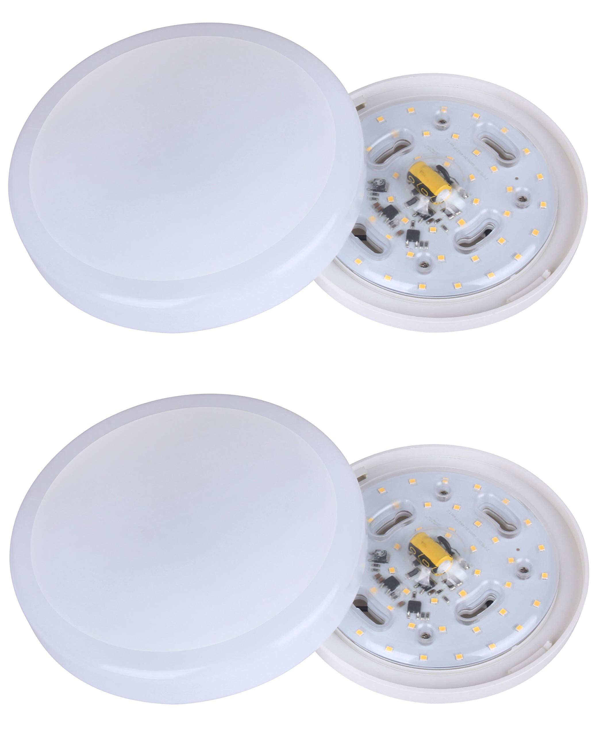 CORAMDEO 7 inch LED Flush Mount Ceiling Light Fixture, 11W Replace 75W, 800 Lumen, Dimmable, ETL/ES Rated, 2-Pack