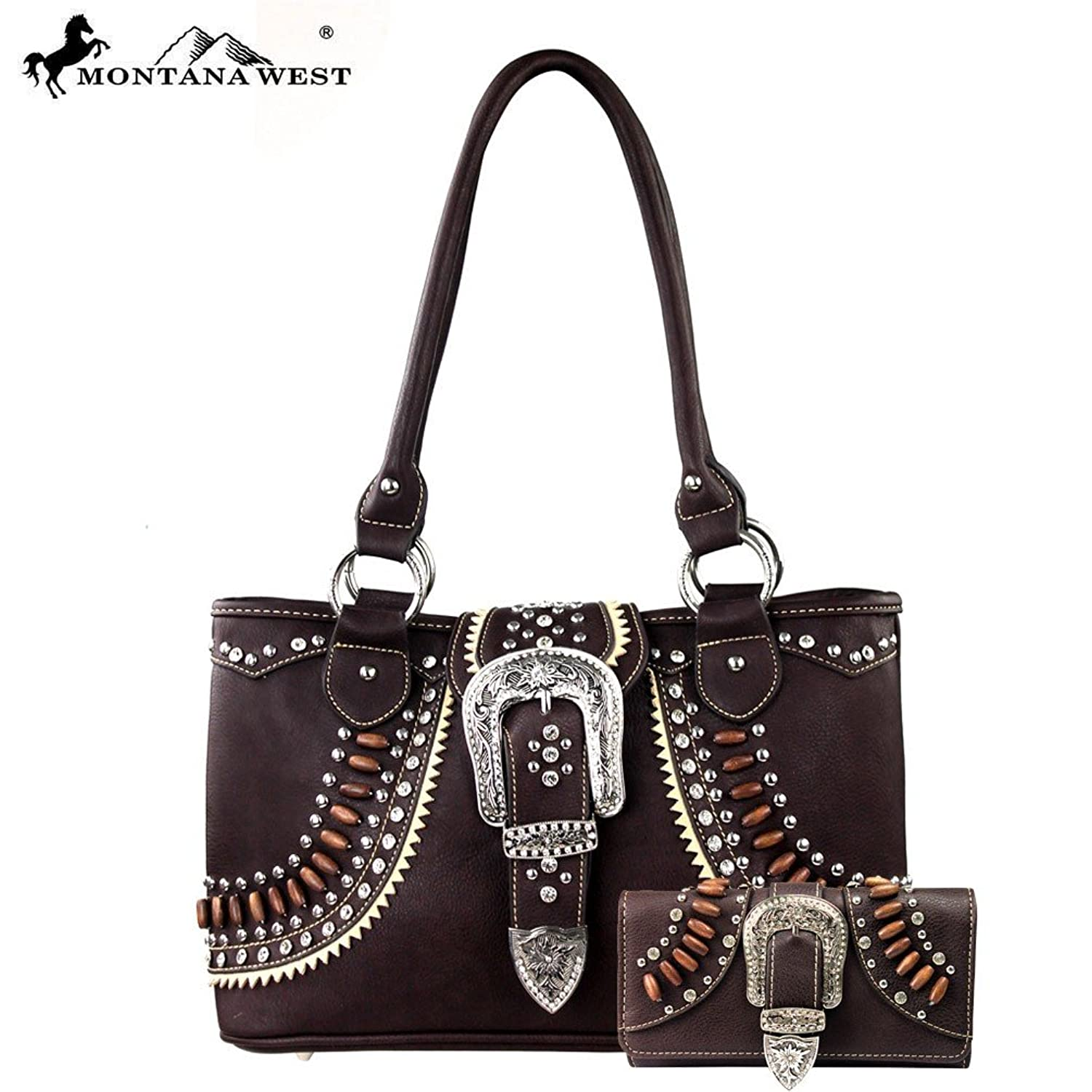 Western Native American Vegan Leather Easy Access Buckle Purse and Matching Wallet