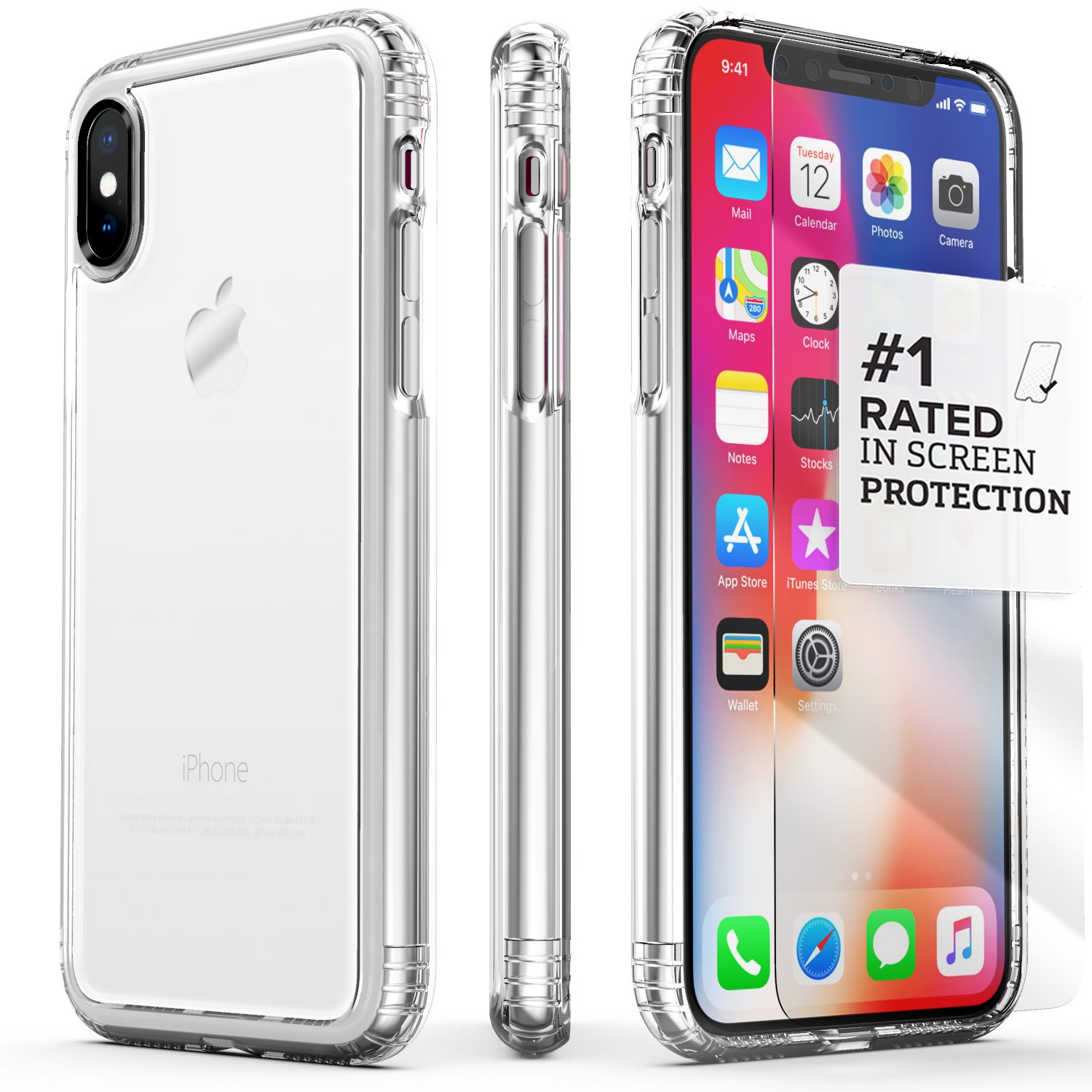 iPhone X Case, SaharaCase Protective Kit Bundle with [ZeroDamage Tempered Glass Screen Protector] Rugged Protection Anti-Slip Grip [Shockproof Bumper] Anti-Scratch Back Slim Fit iPhone 10 - Clear