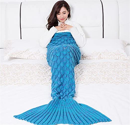 Amazon.com: L&T STAR Mermaid Tail Blanket Fish Scale Knit Warm Mermaid Tail Adult Children Blanket Size 180 90mm , C: Home Improvement