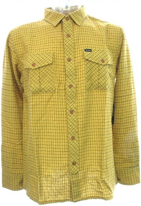 Brixton ECP Design Hoxton manga larga camisa de franela, color amarillo: Amazon.es: Ropa y accesorios