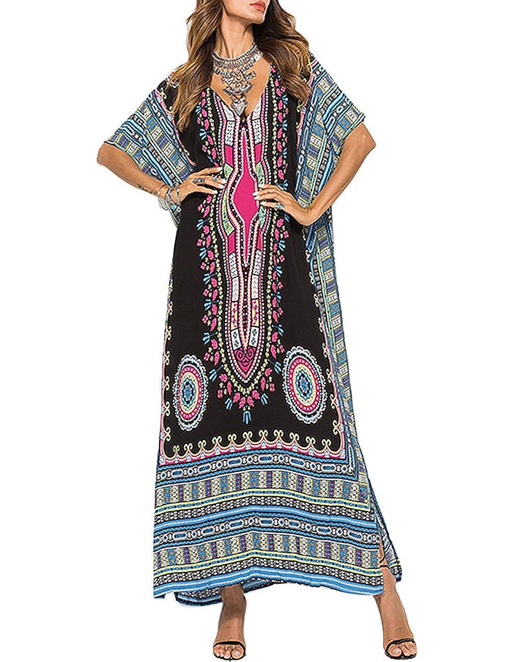 9fa302a387 Buauty Kaftan Tunic Kimono Dress Ladies Summer Women Evening Maxi Party Plus  Size Black at Amazon Women's Clothing store: