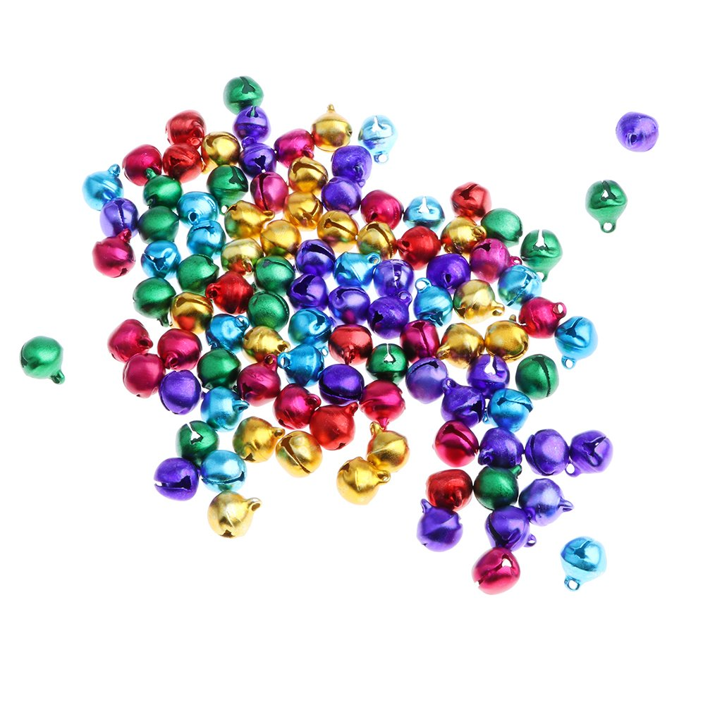 Baoblaze 100 Pieces Colored Jingle Bells Pet Doll Toy DIY Jewelry Making Craft Party Props Kids Early Learning Toy -10mm