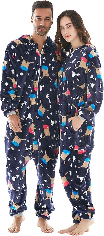 INFLATION Familie Pyjama Set kuschelige Schlafoverall Nachtw/äsche Flanell Onesie mit Kapuze f/ür Herbst Winter Halloween Weihnacht Neujahr 6 Farben 24 Gr/ö/ßen