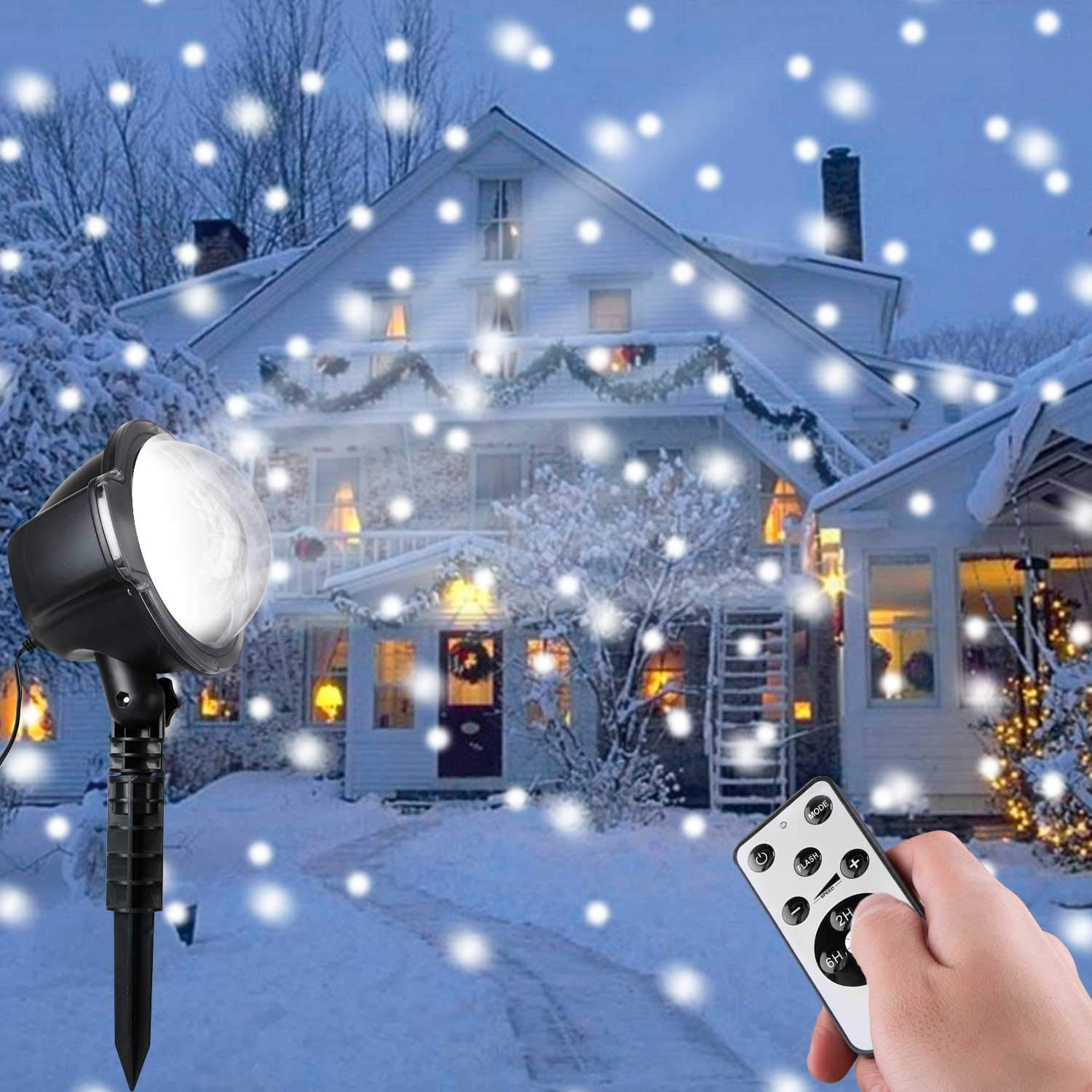 Minetom Christmas Snowfall Projector Lights Rotating LED Snow Projection with Remote Control Outdoor Landscape Decorative Lighting for Christmas Holiday Party Wedding Garden Patio