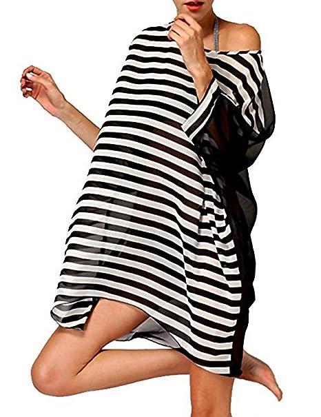 Dqdq sexy womens oversized striped beach bikini swimwear cover-up