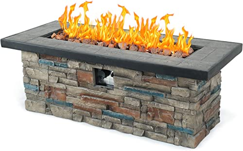 Kevin Outdoor Propane Burning Fire Pit, Square Stonecrest Patio Fire Table 50,000 BTU w Free Lava Rocks for Garden Backyard Decking Rustic Farmhouse