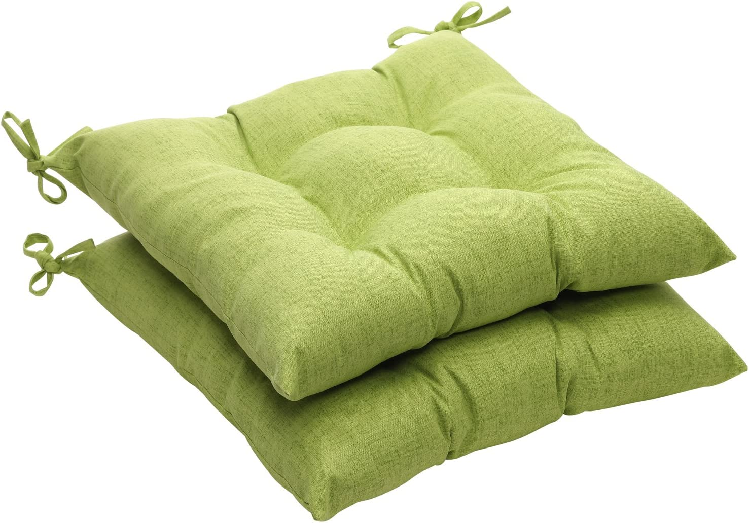 Pillow Perfect Indoor Outdoor Green Textured Solid Tufted Seat Cushion, 2-Pack