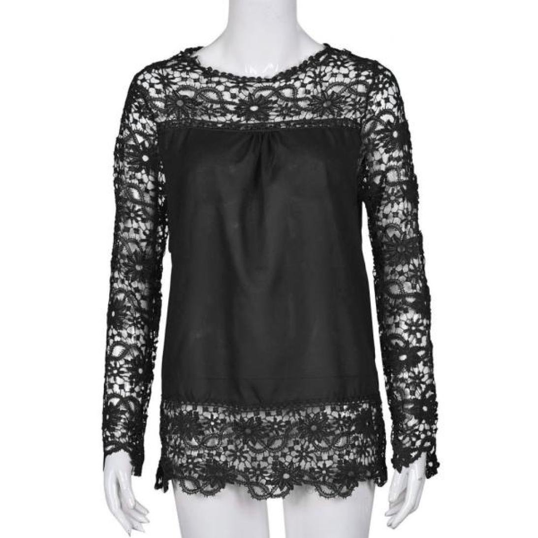 Women Plus Size Hollow Out Lace Splice Long Sleeve Shirt Casual Blouse Loose Top(Black,Medium) by iQKA (Image #3)