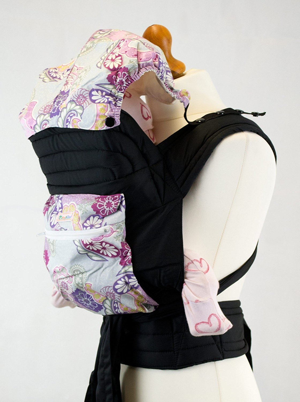 Palm and Pond Mei Tai / Babytrage mit Kapuze und Tasche - Lila tuerksichen Muster