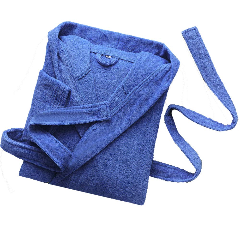 bluee Hooded Bathrobe, Unisex Hotel Cotton Absorbent Towel Robes, Men's and Women's Long Dressing Gowns
