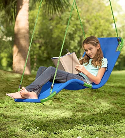 Outdoor Hanging Chaise Lounge Chair Tree Swing, Weather Resistant  Polypropylene, Max Weight 200 LBS