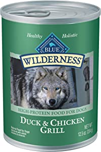 Blue Buffalo Wilderness High Protein, Natural Adult Wet Food, Duck and Chicken Grill 12.5 oz cans (Pack of 12)