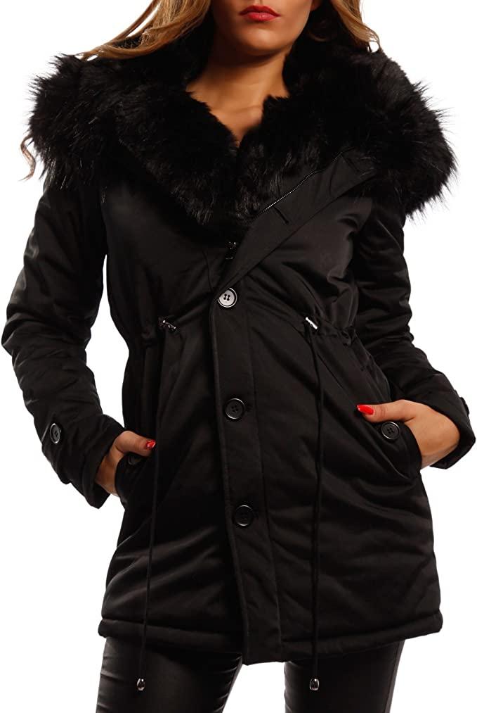 Young Fashion Damen Winterjacke XXL Fellkapuze Jacke in