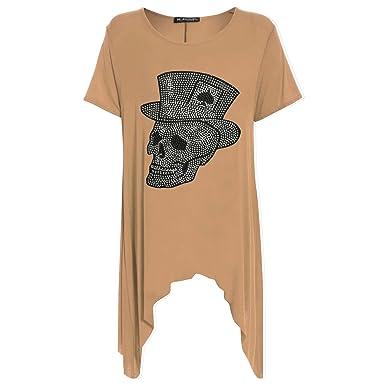 5a14c099097 Womens Ladies Skull Hat Studded Flared Swing Hanky Hem Long Top Dress Plus  Size  Amazon.co.uk  Clothing
