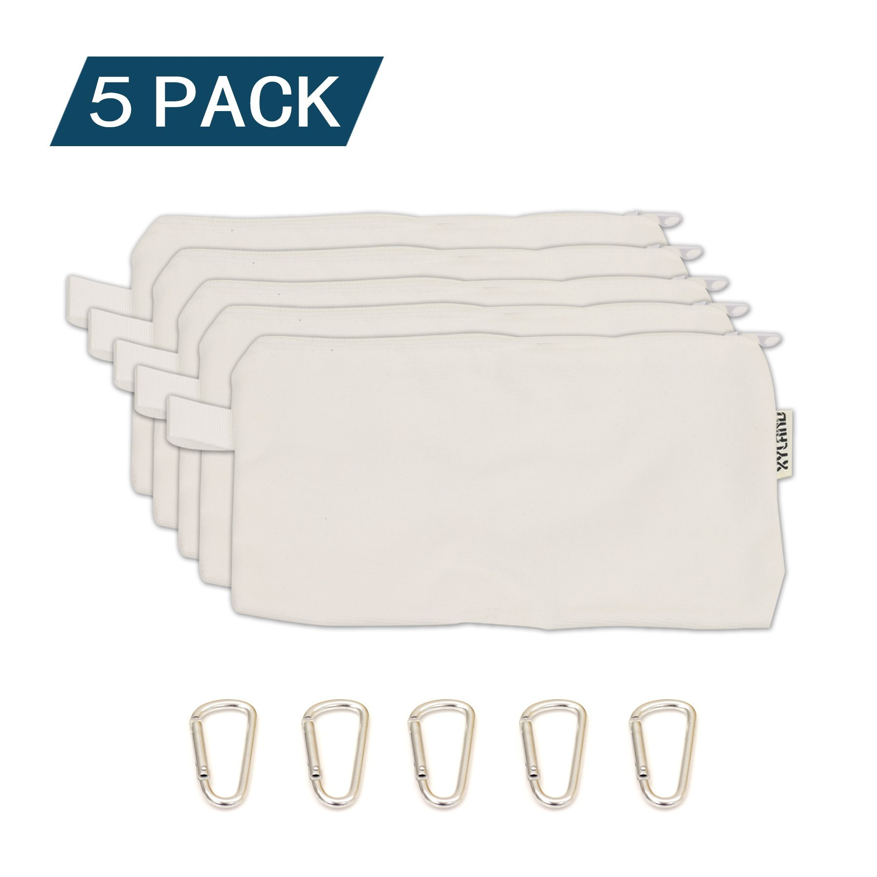 XYLand 100% Cotton Canvas Zipper Tool Pouch 5 Pack,Utility Organization Bags, Heavy Duty Metal Zipper and Carabiner White(5Pack HDMZ White)