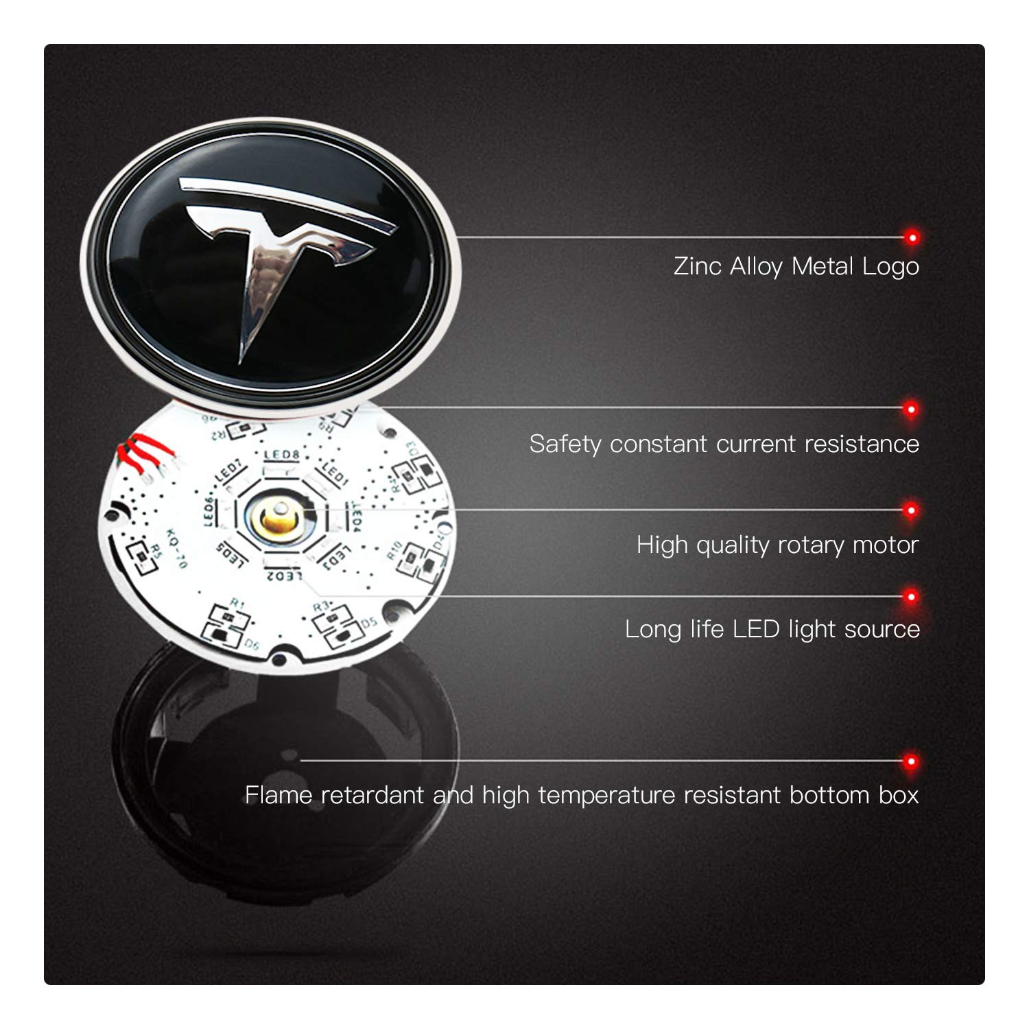 R RUIYA Tesla Model 3 S X Accessory 4PCS Wheel Logo Hub Center Caps Cover with Lights LED Car Modification Special Atmosphere Lamp