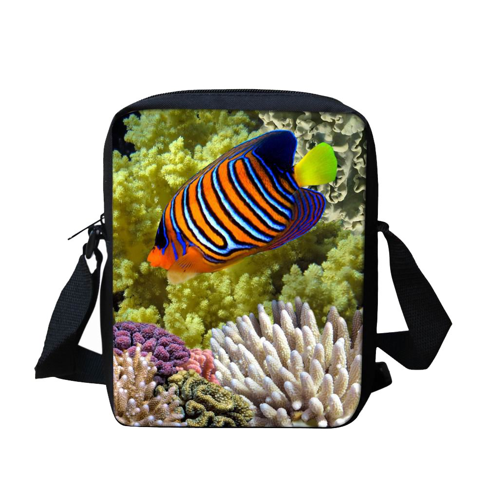 Aquarium Shoulder Bags for School Crossbody Messenger Bag for Kids Travel