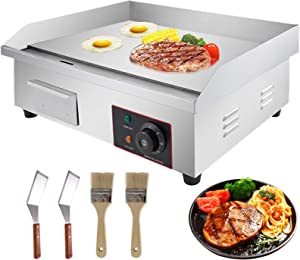 """VBENLEM 22"""" Electric Countertop Griddle Grill 110V 3000W Non-Stick Commercial Restaurant Grill Stainless Steel Flat Top Grill with Adjustable Temperature Control 122°F-572°F"""