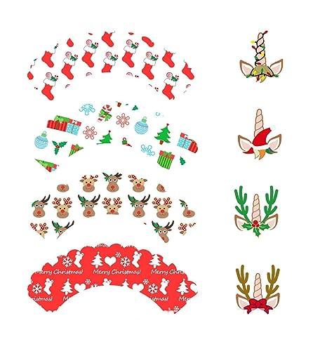Sayala 48 unids Navidad Toppers & Envolturas de Magdalena con Diseño Navideño - Papel Molde Muffin Cases - Ideal para decoración de Navidad, Fiestas, ...