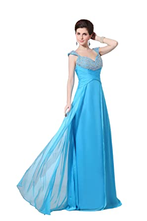 Miao Duo Womens V Neck Ruched Empire Backless Formal Evening Dresses Prom Gown Plus Size -