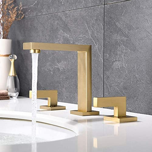 JinYuZe Commercial Bathroom Sink Faucet 3 Hole Two Handle Widespread Lavatory Faucets Deck Mount Basin Mixer Tap Faucet Brushed Gold