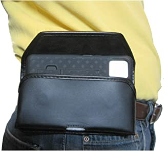 product image for TurtleBack TB Holster Pouch, Rugged and Heavy Duty, with Strong Belt Clip, Fits Google Pixel 4XL (2019) with Slim-Fit Case On Device (Blk Leather-Sideways Metal Clip)