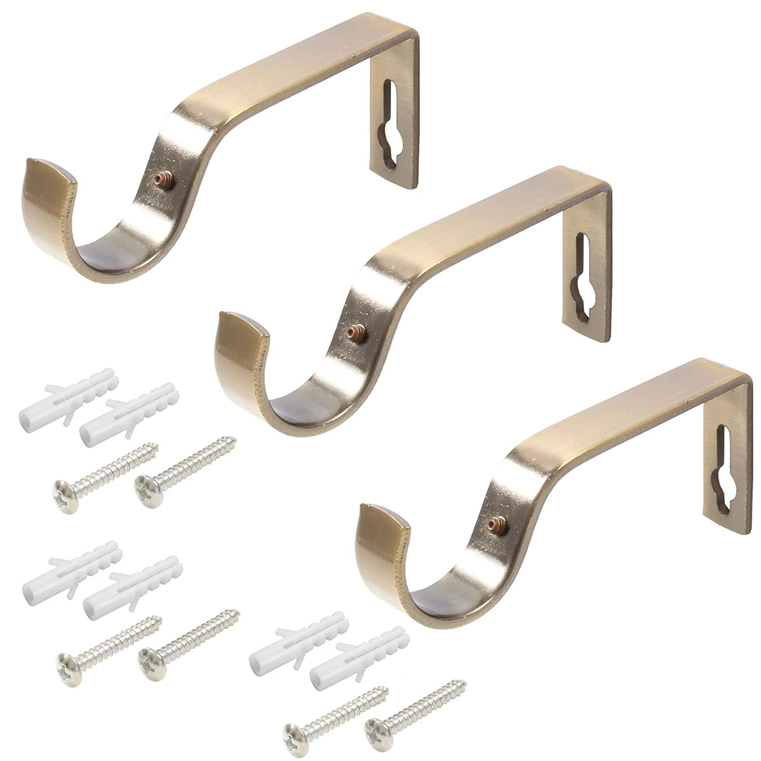 3x Large 28mm Antique Brass Curtain Pole Holder Brackets White Hinge