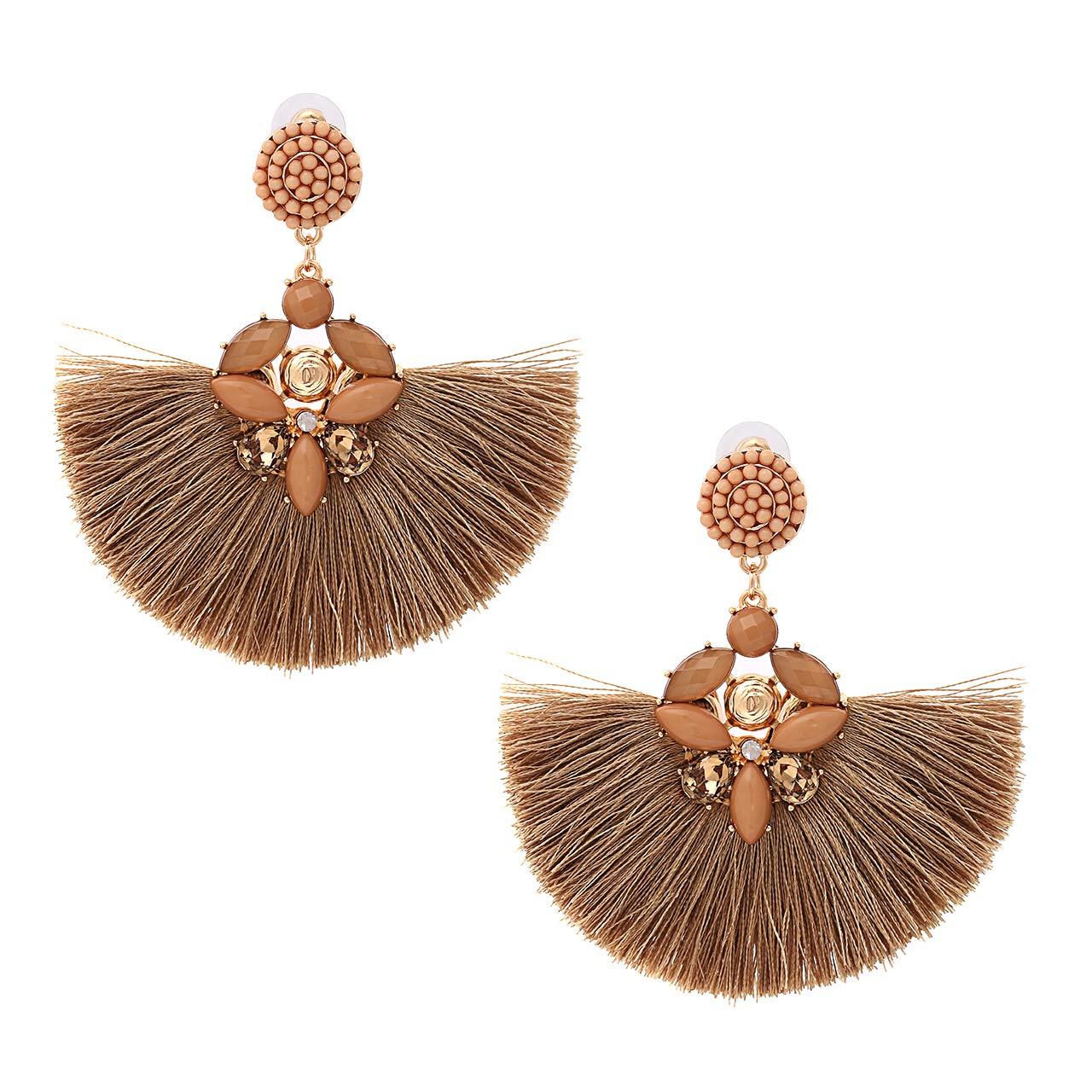 5284367dd Amazon.com: ELEARD Fan Tassel Earrings Crystal Beaded Fringe Dangle Earrings  Seed Beaded Stud Statement Drop Earrings (Brown): Jewelry